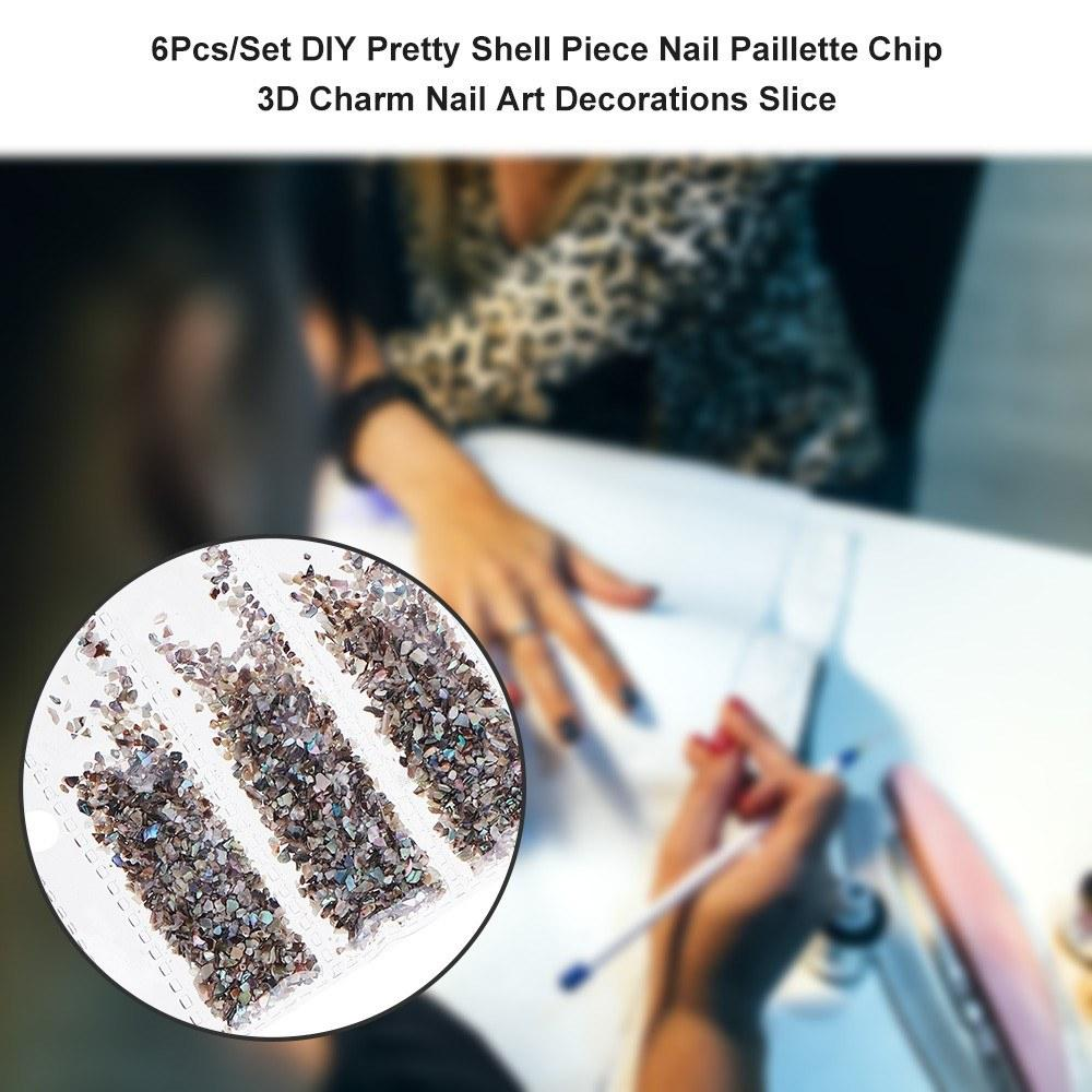 6Pcs/Set DIY Pretty Shell Piece Nail Paillette Chip 3D Charm Nail Art Decorations Slice Beauty Nail Decals Manicure Decoration