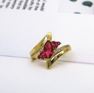 Wish hot sale plated 18K multi-color inlaid zircon ring European and American fashion personality horse eye multi-color ring foreign trade supply