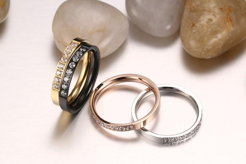 European and American style single ring ladies ring 3MM stainless steel zircon ring