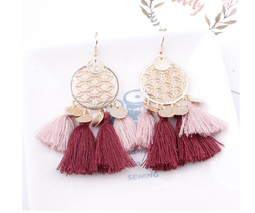 European and American explosions bohemian fringed hollow tassel earrings earrings jewelry