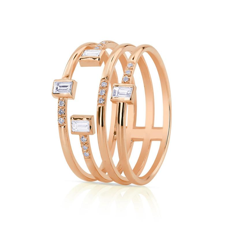 Personality four-line ladies ring Copper-plated silver zircon party ring jewelry