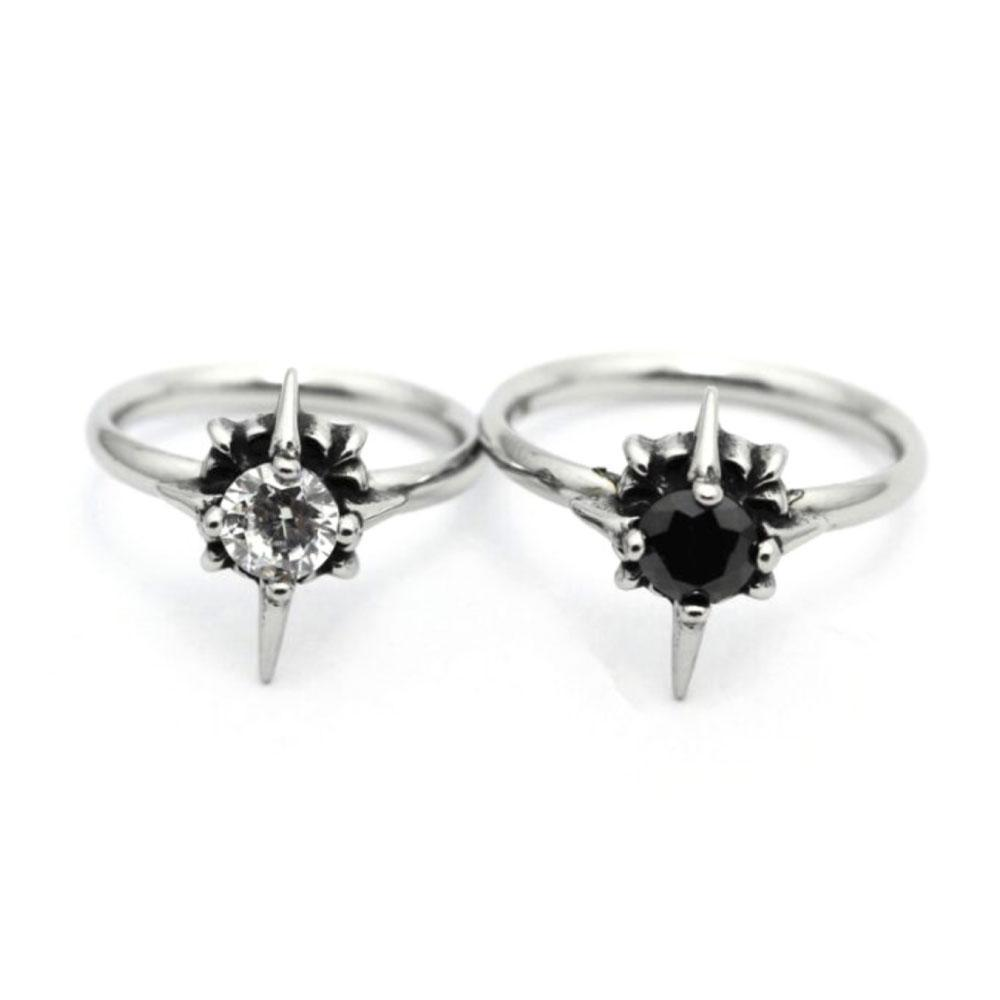 Black and White Clear Stone Ring