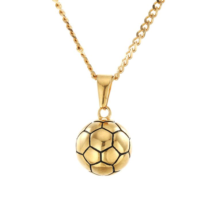 Hip hop exquisite stainless steel gold-plated solid football pendant