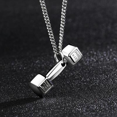 European fashion fitness dumbbell Necklace Pendant Korean couple men domineering female personality titanium barbell accessories