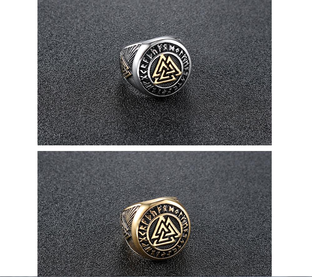 Stainless Steel Valknut Ring With Runic Symbol Halo