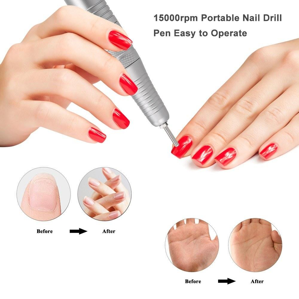 Electric Nail Drill Machine for Manicure USB Port Nail Drill Pen 15000rpm Portable Easy to Operate Adjustable Speed