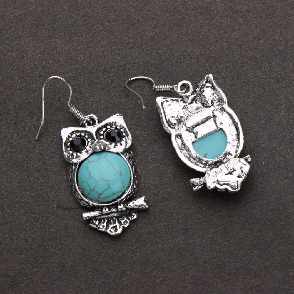 Ethnic Vintage Natural Stone Owl Earrings