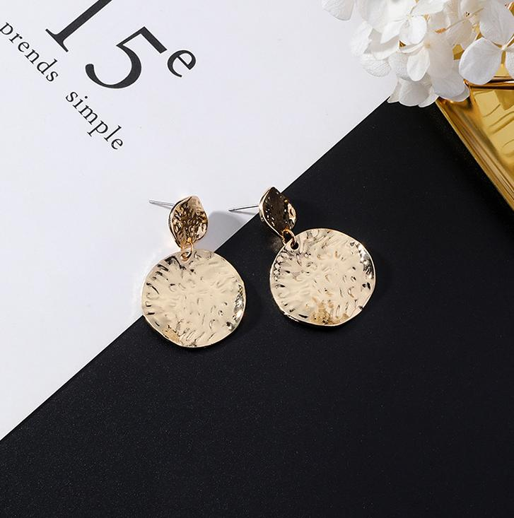 European and American popular personality exaggerated metal wind geometric earrings long tassel earrings gold earrings