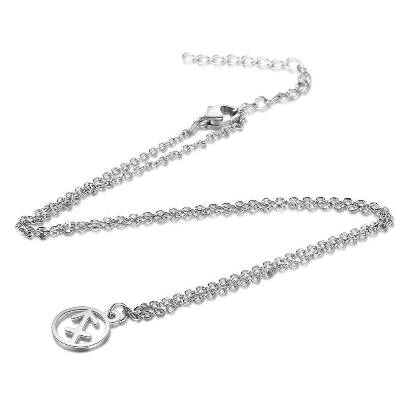 European and American fashion titanium steel pendant necklace AliExpress cross-border hot sale 12 constellation fashion stainless steel clavicle chain