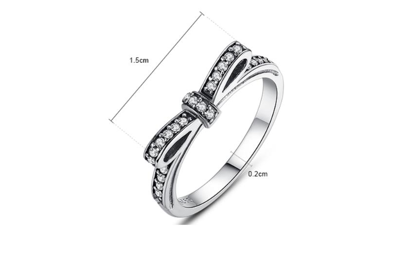 Korean version of the cute bow ring female 30% silver jewelry small girl ring fashion jewelry Thai silver ring