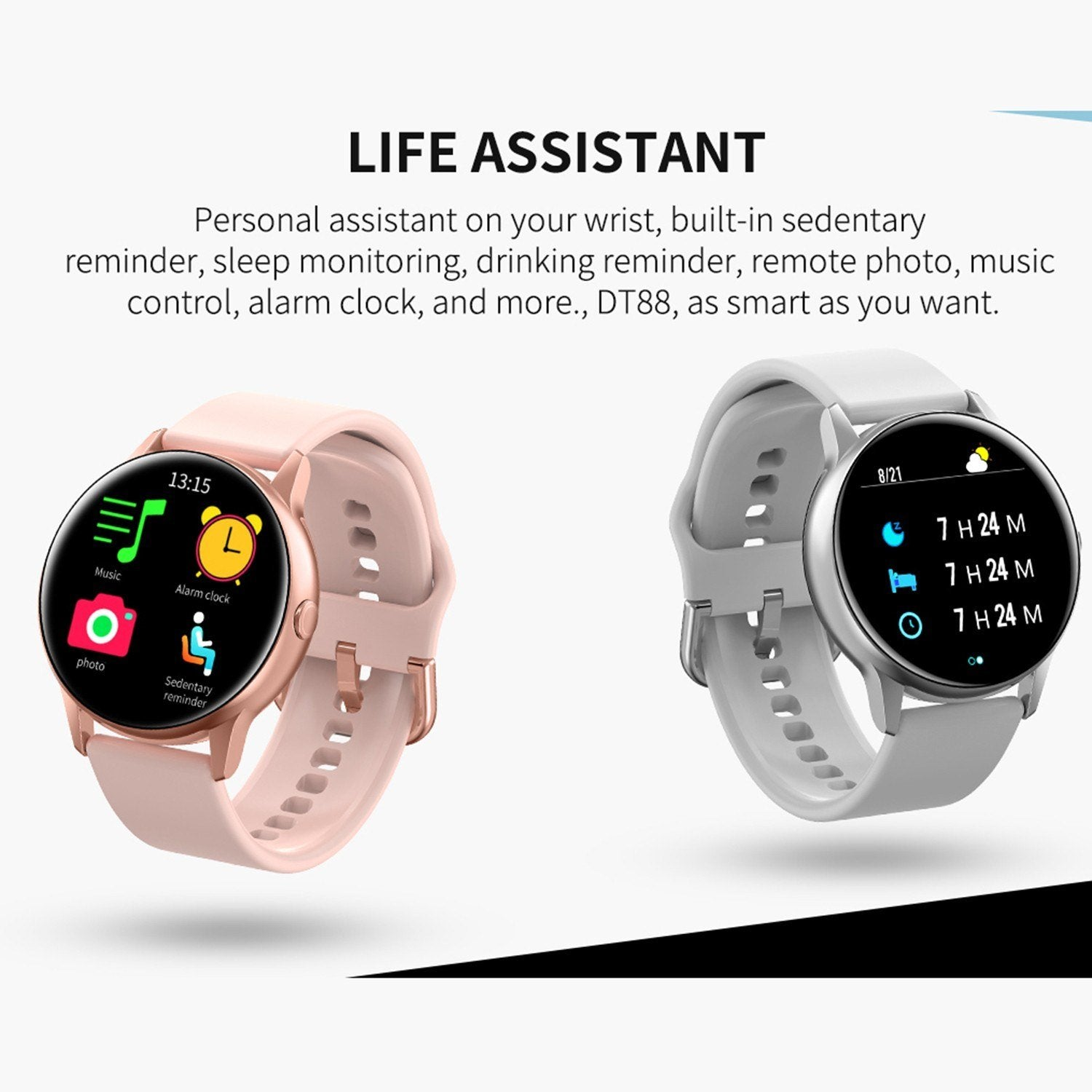 DT88 Smart Watch Bracelet Heart Rate Fitness Blood Pressure Blood Oxygen Monitoring Silicone Strap Watch Full Touch Screen Waterproof Multiple Sports Mode Smart Watch