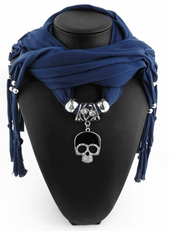 Jewelry scarf alloy skull pendant scarf ladies shawl jewelry