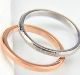 Titanium steel frosted fine ring joint ring couple ring