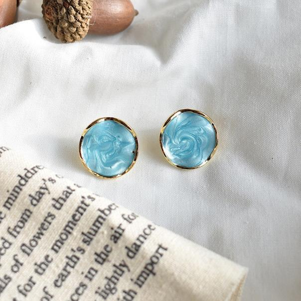 Geometric color drop oil stitching earrings