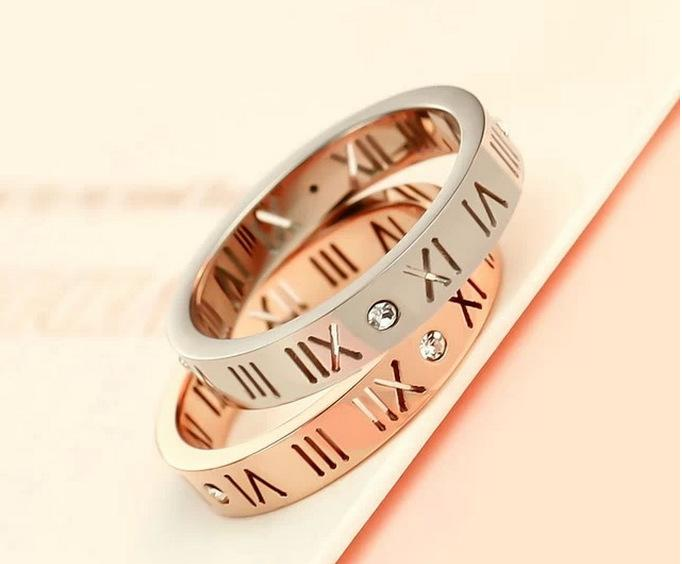 Roman numerals diamond couple ring