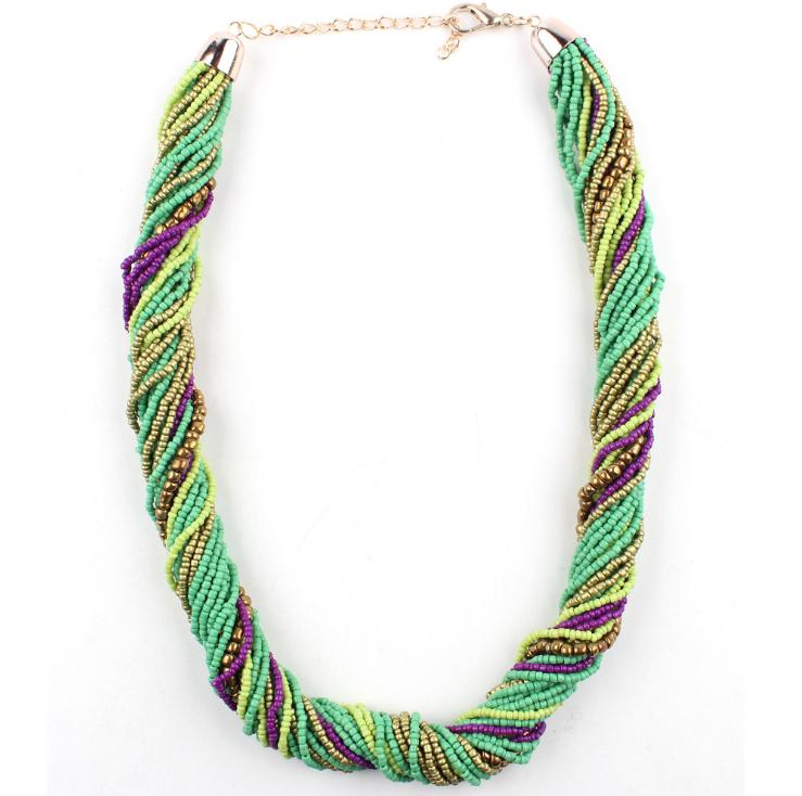 Multi-layer multi-color fashion necklace