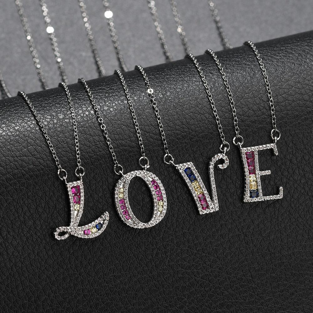 DIY English 26 letter simple color micro inlaid zircon copper necklace