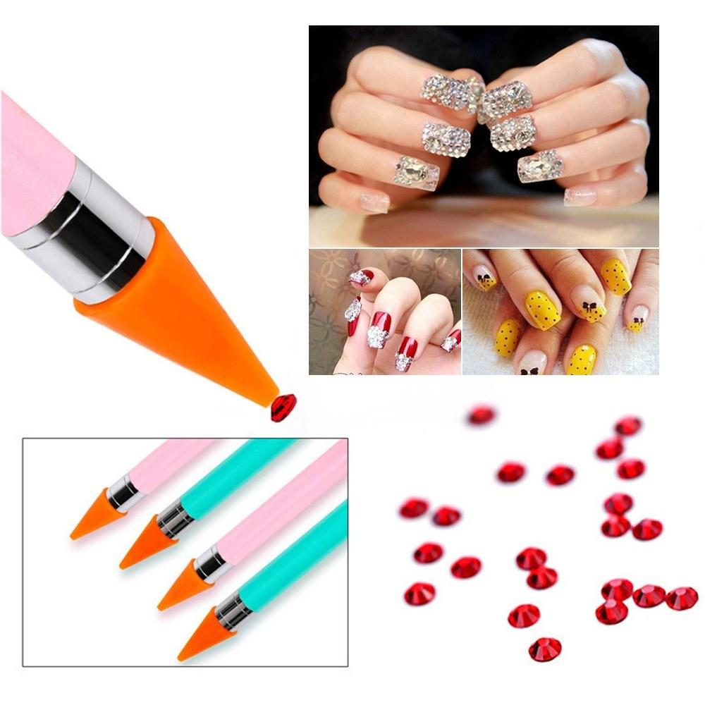 Nail Rhinestone Picker Dotting Tool with Extra Wax Head Dual-ended DIY Nail Art Tool with Case Acrylic Handle