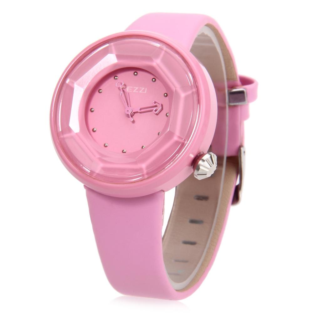 KEZZI K708 Female Quartz Watch Water Resistance Leather Band Cutting Surface Dial Wristwatch