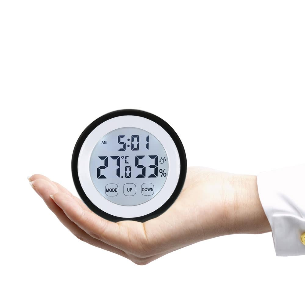 °C/°F Digital Thermometer Hygrometer Temperature Humidity Meter Alarm Clock Touch Key with Backlight