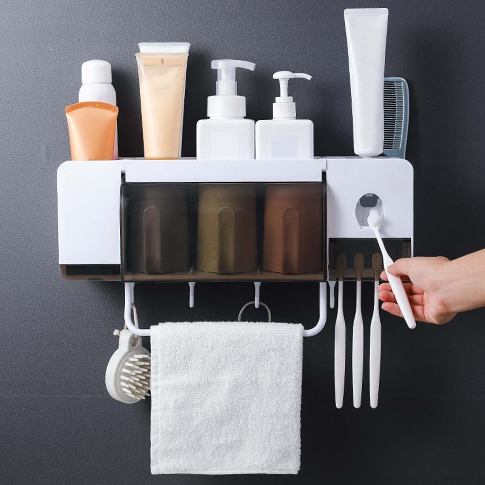 Wall Mounted Plastic Toothbrush Holder Storage Rack with 2 Cups