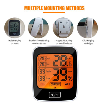 Digital Temperature Humidity Meter Thermo-hygrometer °C/°F Thermometer Hygrometer Indoor Temperature & Humidity Comfort Level Display TEMP.& Humidity Tester Weather Forecast Weather Station LCD Backlight