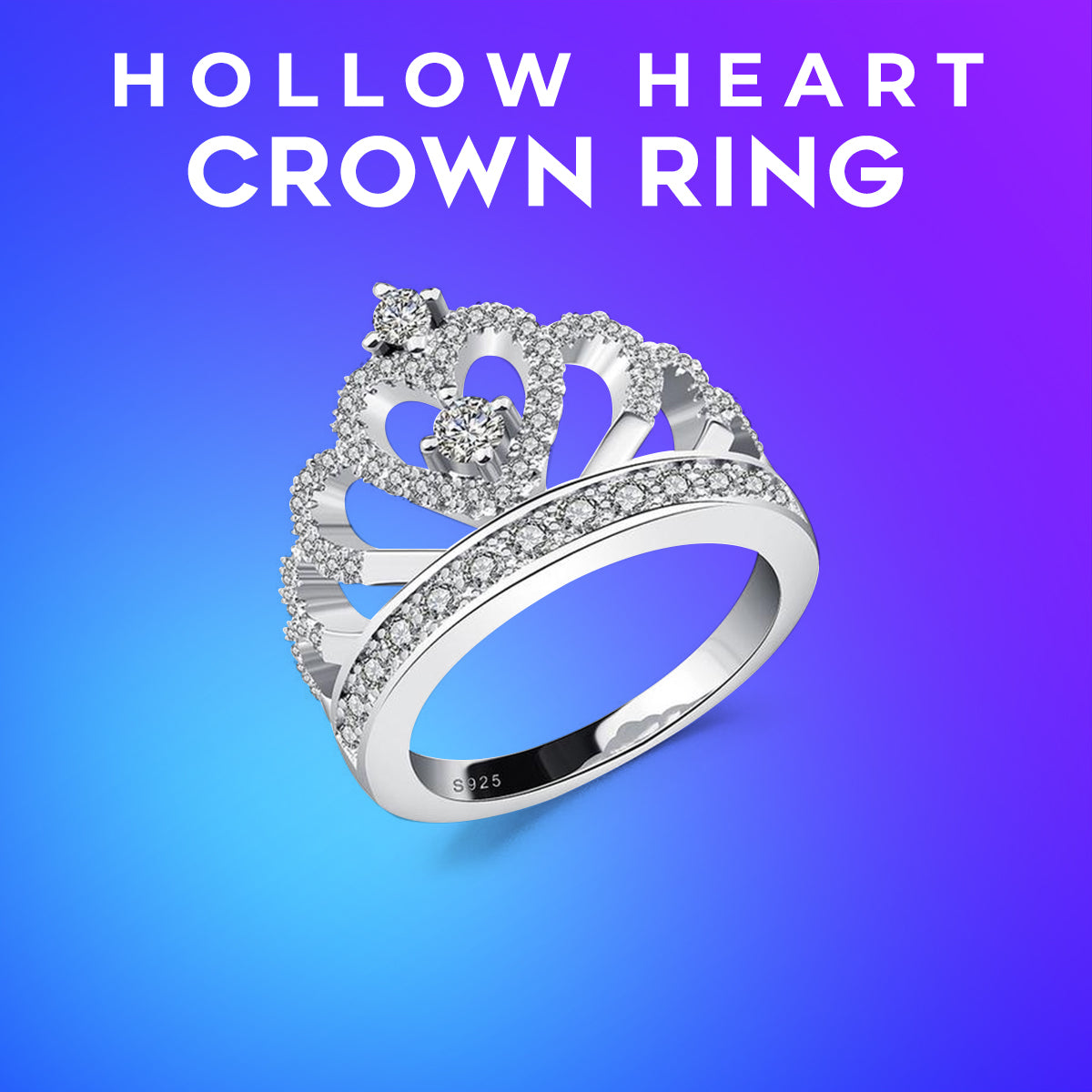 Hollow Heart Crown Ring