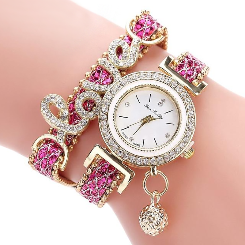 Ladies Rhinestone Quartz Love Watch