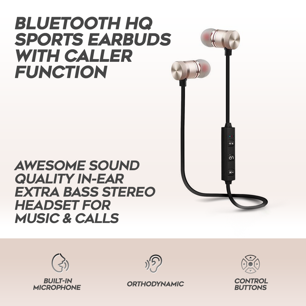 Bluetooth HQ Sports Earbuds With Caller Function