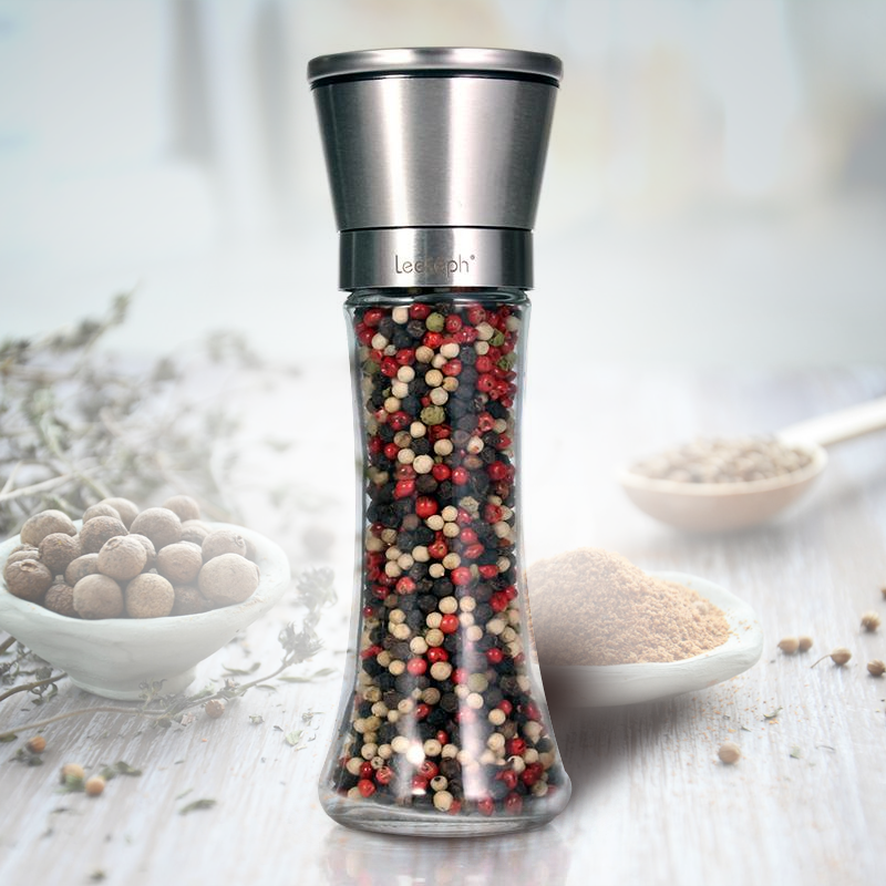 Premium Brushed Stainless Steel Salt & Pepper Mill