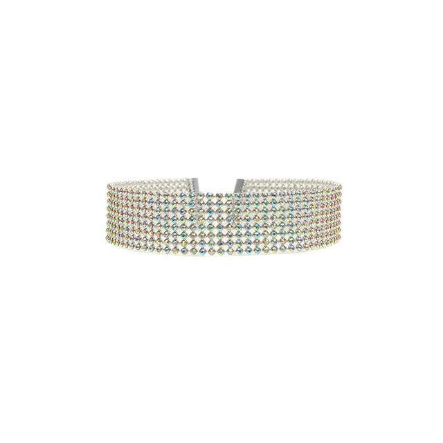 Silver Crystal Rhinestone Choker Necklace