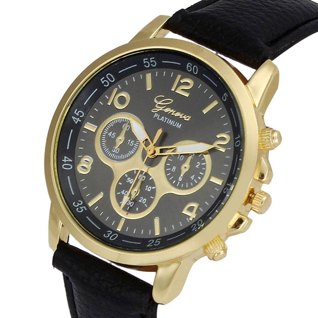 Unisex Business Class Quartz Analog Watch With Leather Strap