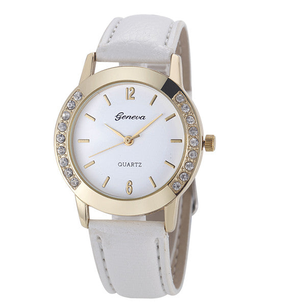 Women Leather Quartz Watch With Crystal Embellishing