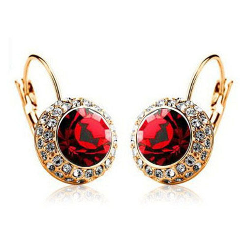 Fire-stone Round Crystal Hoop Earrings