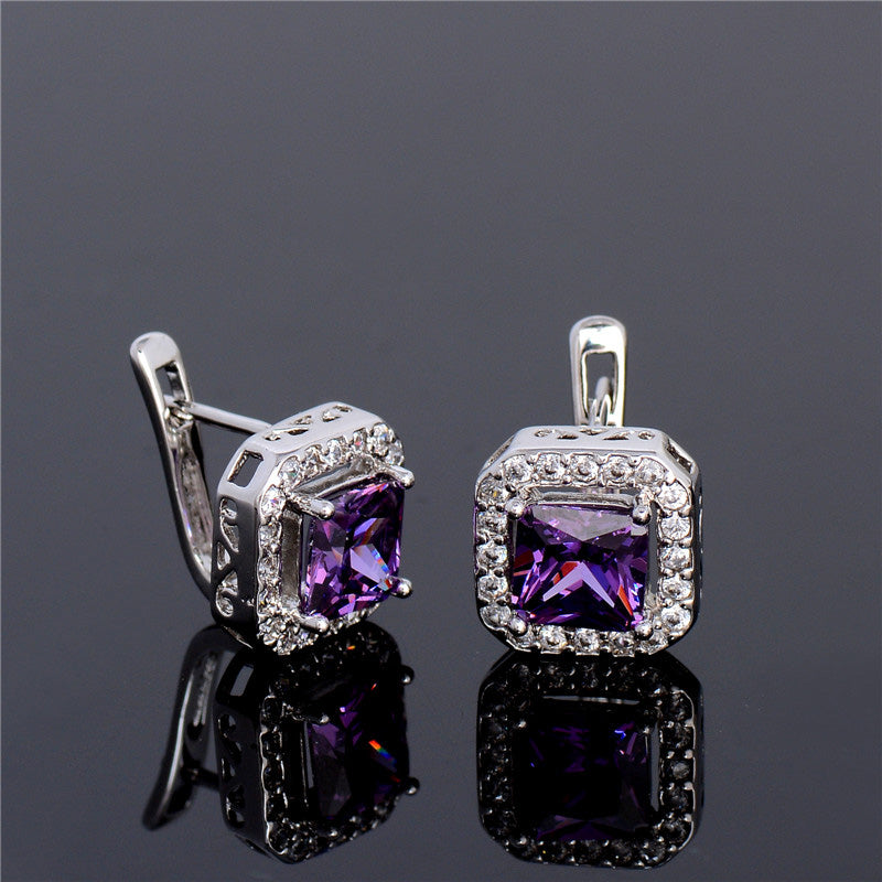 Purple Stone Cubic Zirconia Hoop Earrings