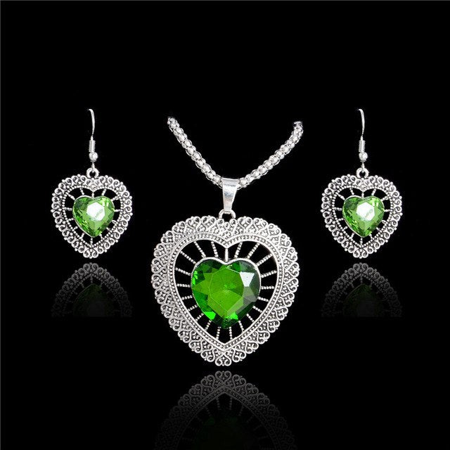 Rhinestone Double Heart Set