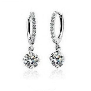 Austrian Crystal Pendant Hoop Earrings
