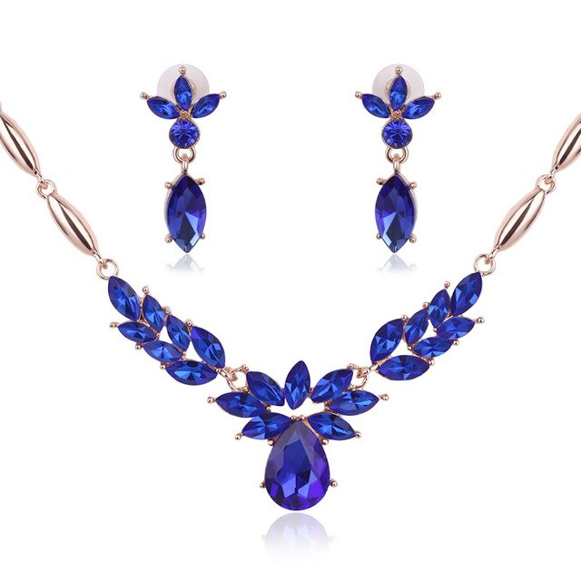 SHUANGR African Gold Color Blue Jeweler Sets Crystal Necklace + Earrings Green Rose Pendant Necklace Set Women Fashion Jewelry