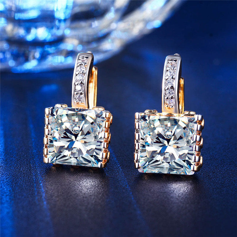 Square Cut Zircon Hoop Earrings