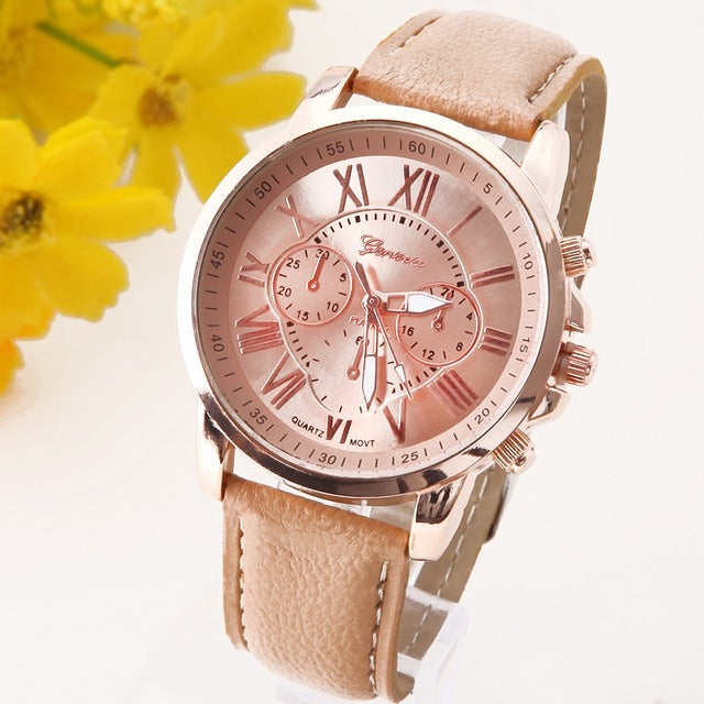 Ladies Geneva Platinum Leather Strap Watch