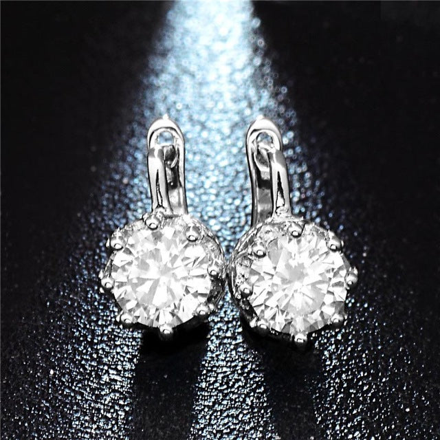Clear Rhinestone Paved Silver Hoop Earrings