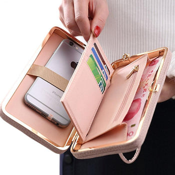 Luxury Leather Purse With Phone Pouch