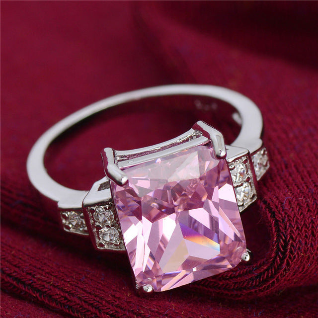 Large Square Cut Crystal Ring