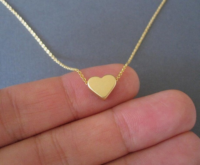 Long Chain Heart Shape Pendant Necklace