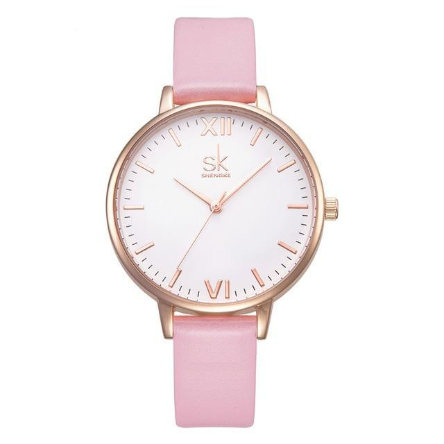 Ladies Slim Strap Marble Face Wristwatch