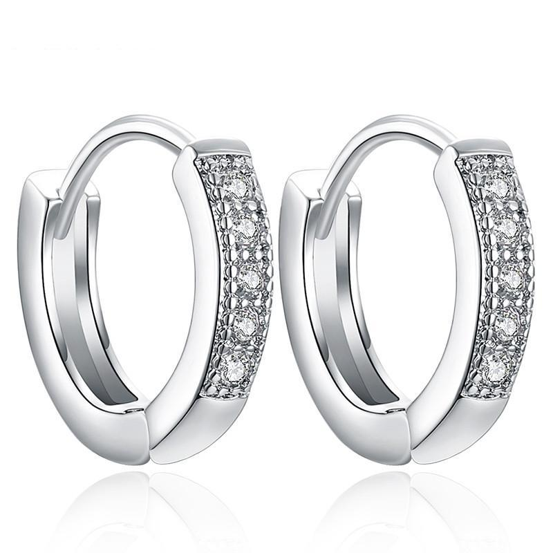 Classic Zirconia Encrusted Hoop Earrings
