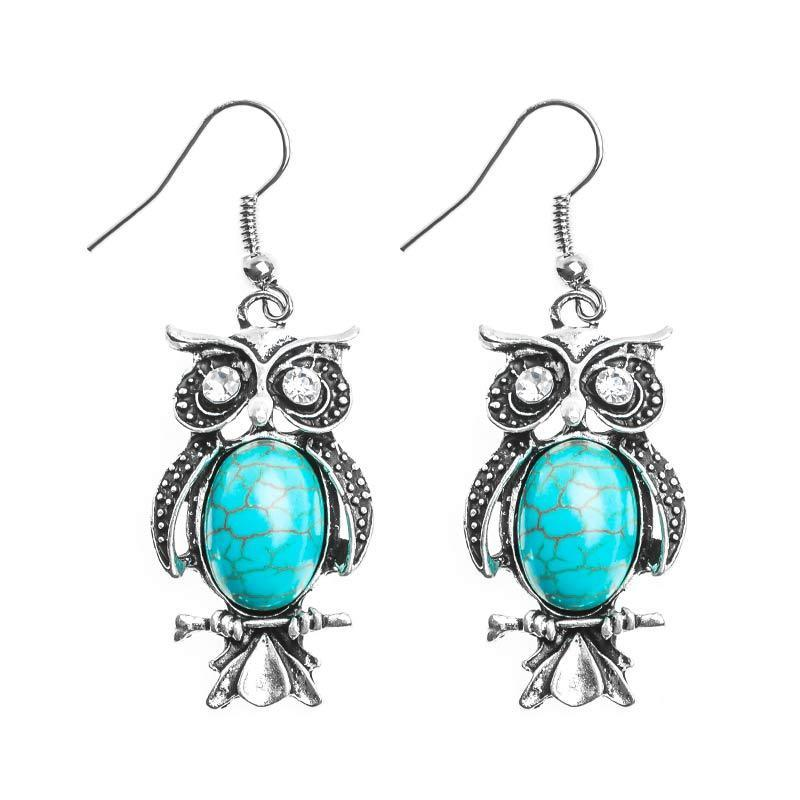Tibetan Silver Stone Owl Earrings