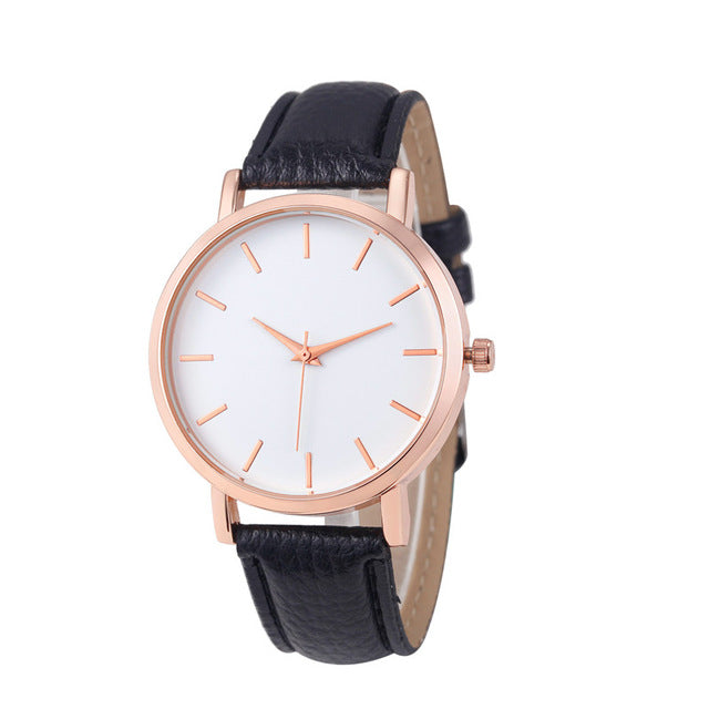 Unisex Leather & Stainless Fashion Watch