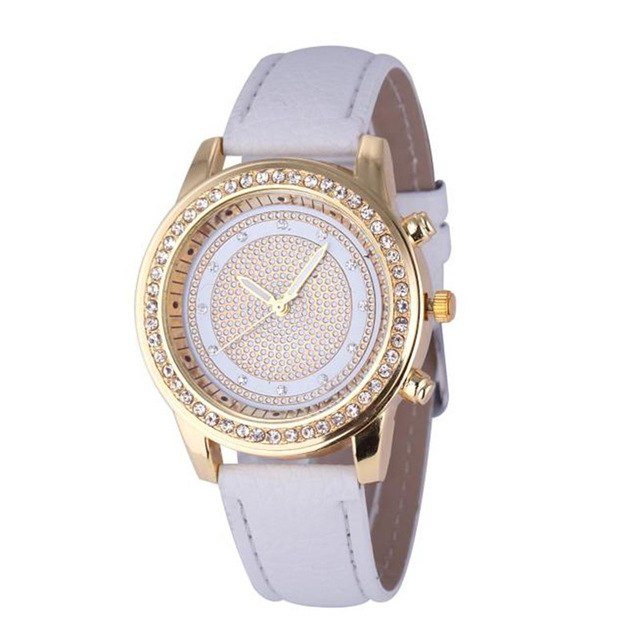 Ladies Crystal Stainless Steel Quartz Wristwatches