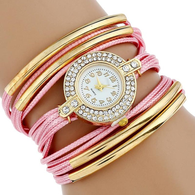 Women's Quartz Leather Wrap Dress Watch
